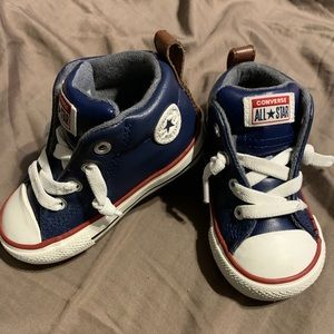 Leather navy high tops converse sz 5 toddler